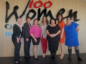 April Long, Leah Armstrong, Jodie Sizer, Merindah Donnelly, Kirstie Parker, Natalie Walker and Nareen Young at the Women of Influence Awards in 2012.