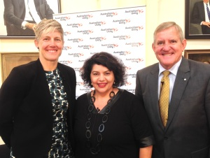 Melinda Cilento, Kirstie Parker, and Ian McFarlane at the 2017 Great Australia Day Breakfast in Melbourne.